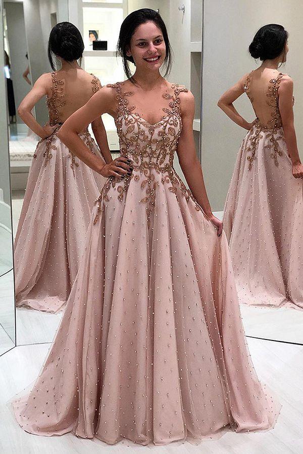 Elegante Abendkleider Lang Mit Träger  Rosa