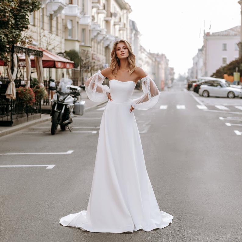 Elegante Ärmel Klassische Boho Hochzeit Kleid Erröten Weiß