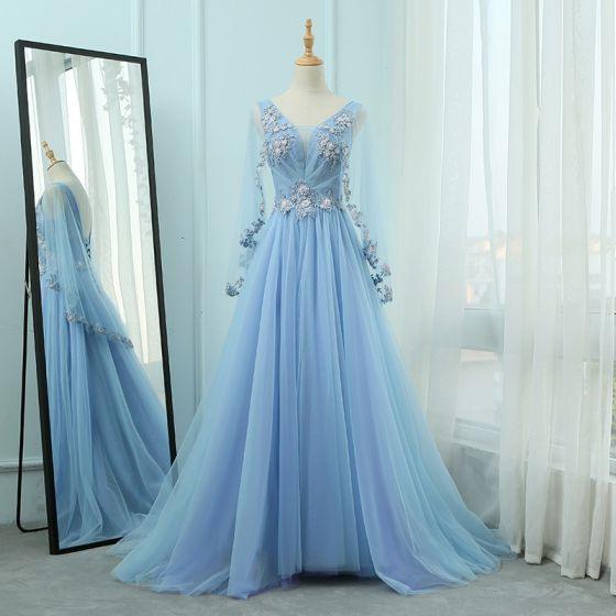 Elegante Blau Abendkleider 2018 A Linie Vausschnitt Lange