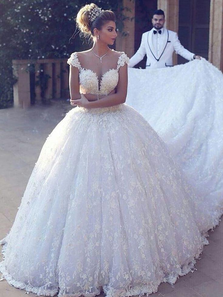 Elegante Brautkleider Prinzessin  Weiße Spitze