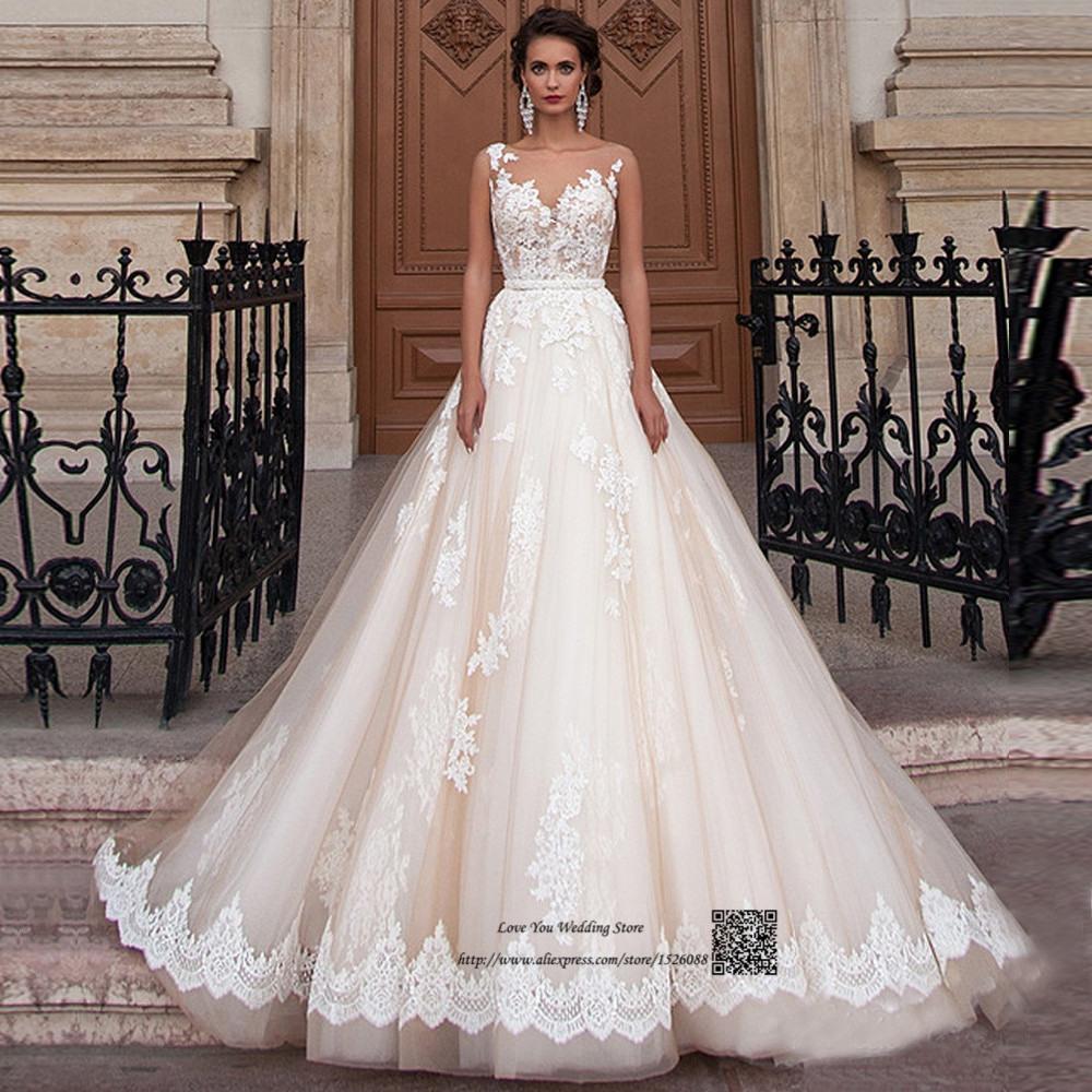 Elegante Champagner Spitze Arabische Hochzeitskleid Türkei