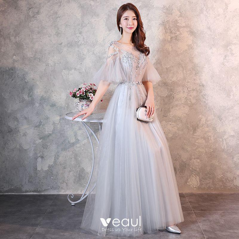 Elegante Grau Durchsichtige Abendkleider 2018 A Linie