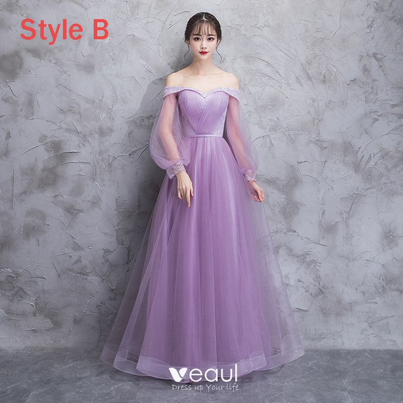 Elegante Lila Durchsichtige Brautjungfernkleider 2018 A