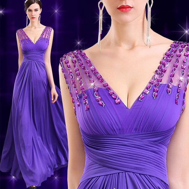 Elegante Lila Festliche Kleider Mit Kristall Abendkleid