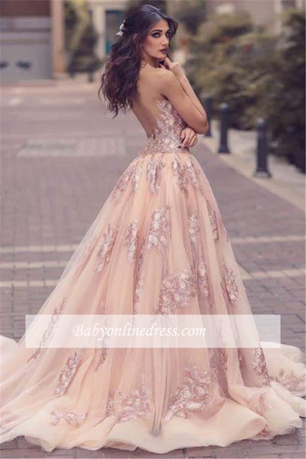 Elegante Rosa Abendkleider Spitze Träger Tüll Abendmoden
