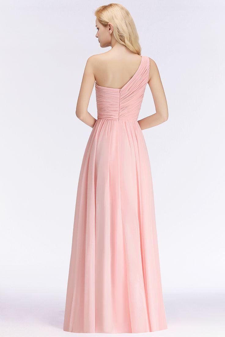 Elegante Rosa Brautjungfernkleider Günstig Chiffon