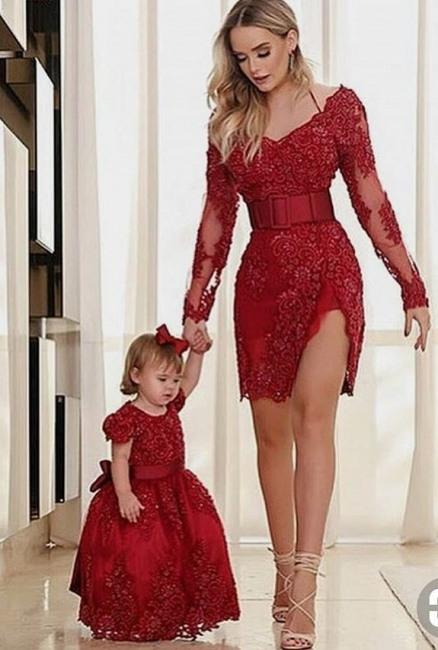 Elegante Rote Abendkleider Kurz Mini Mutter Abendmoden