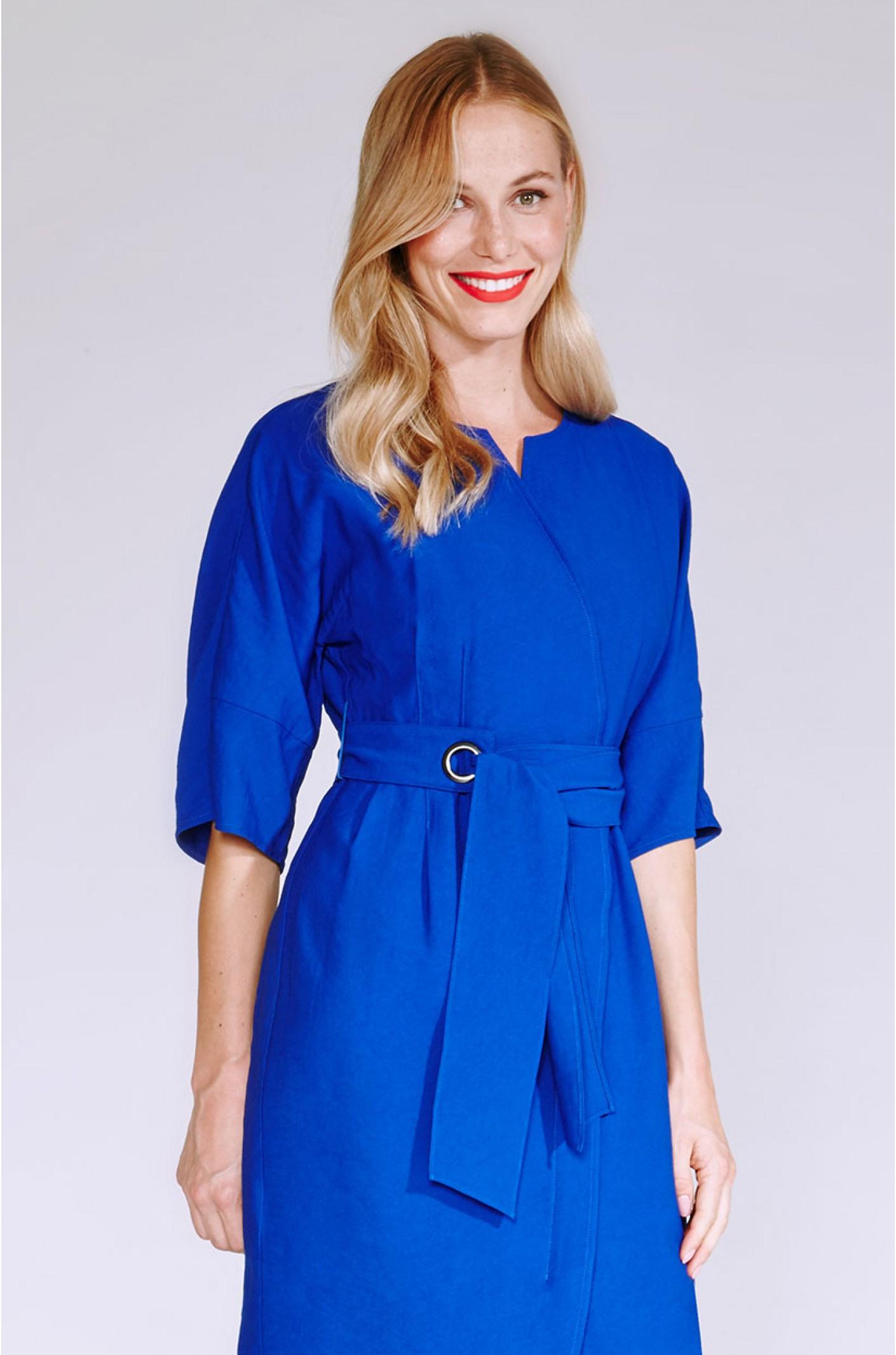 Elegantes Baumwollkleid Mit Arm In Blau  Kala Fashion