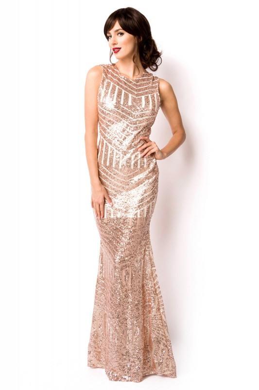 Elegantes Bodenlanges Abendkleid Gold Mit Pailletten
