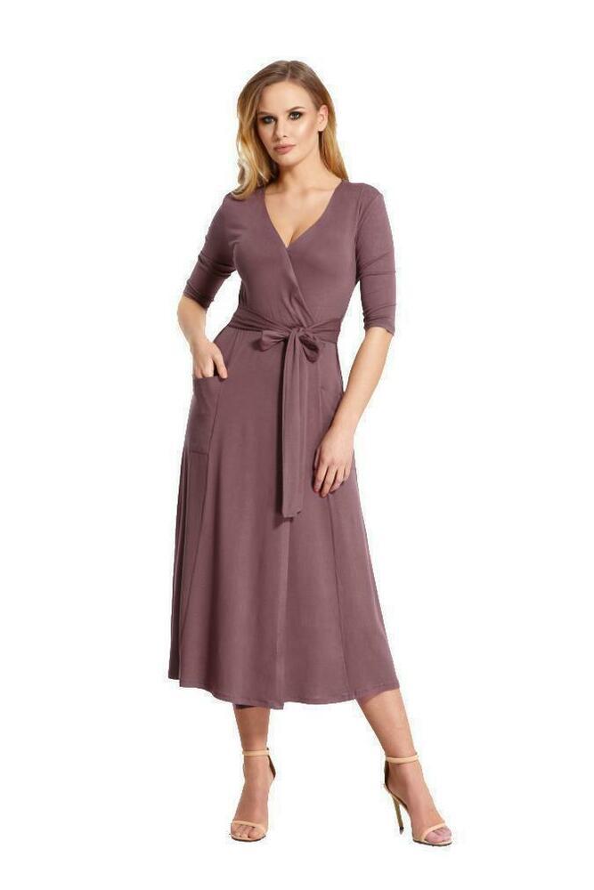 Elegantes Damen Kleid 3/4 Arm Abendkleid Mit Vausschnitt