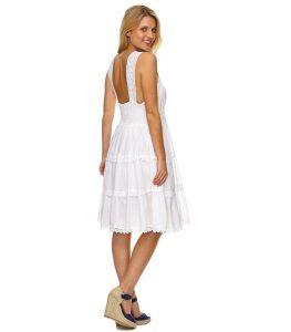 Elegantes Damen Kleid Sommerkleid Weiß Kleider Abend