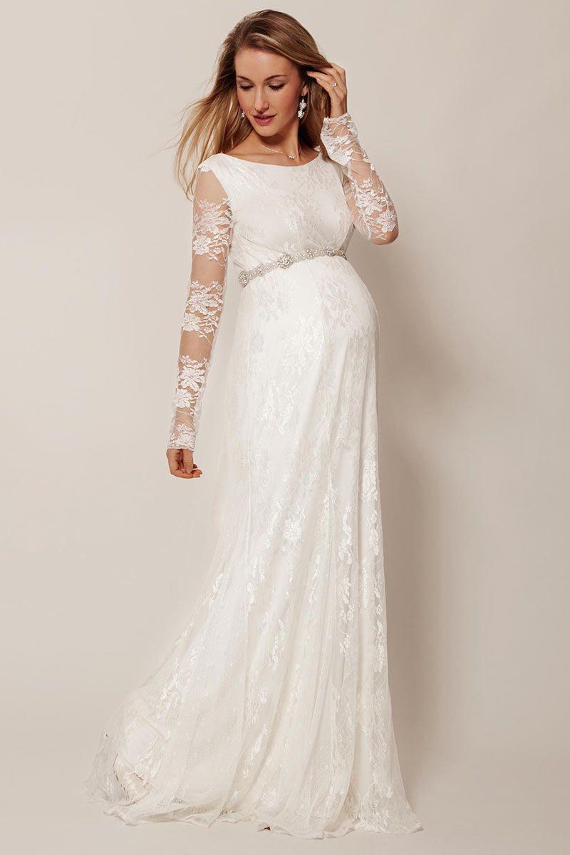 Elegantes Ivory Alinie Empire Brautkleider Mit Ärmel Aus
