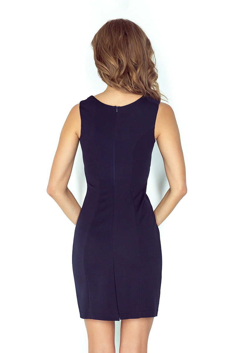 Elegantes Kleid Mit Schnalle  Marineblau Mm 0052  Numoco De