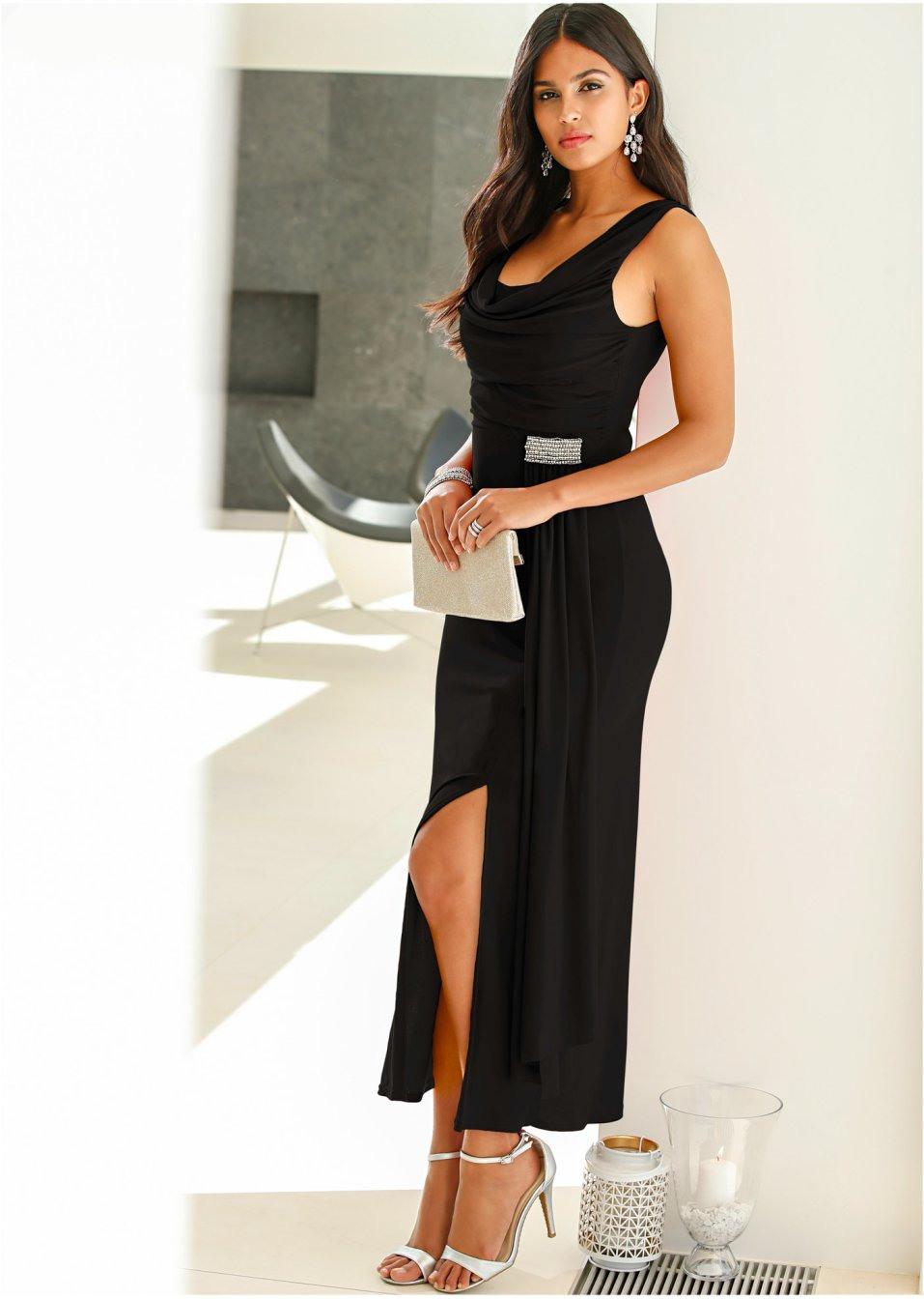 Elegantes Kleid Mit Wasserfallausschnitt Und