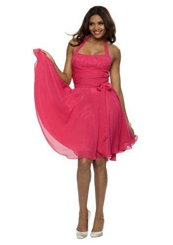 Elegantes Knielanges Neckholder Cocktailkleid Farbe Pink