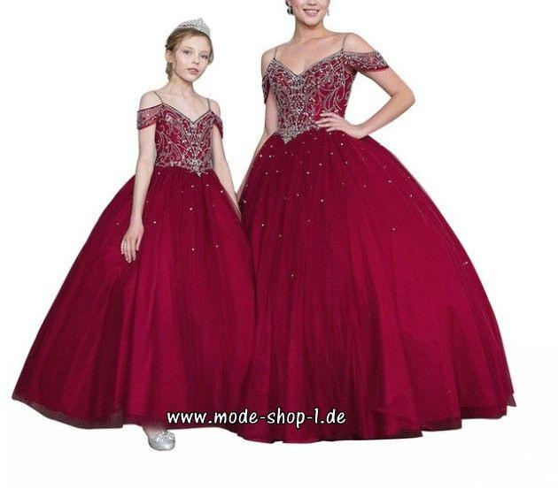 Elegantes Mädchenkleid In Weinrot Dunkelrot Mit Perlen