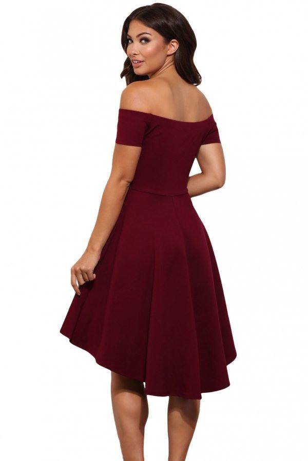 Elegantes Schulterfreies Kleid Cicci Rot  Bekleidung Für