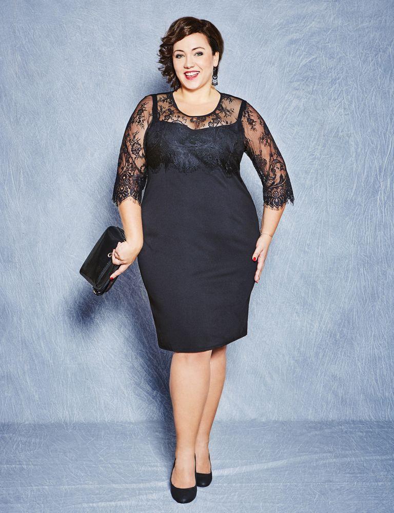 Elegantes Schwarzes Kleid Mit Spitzen In Großen Größen