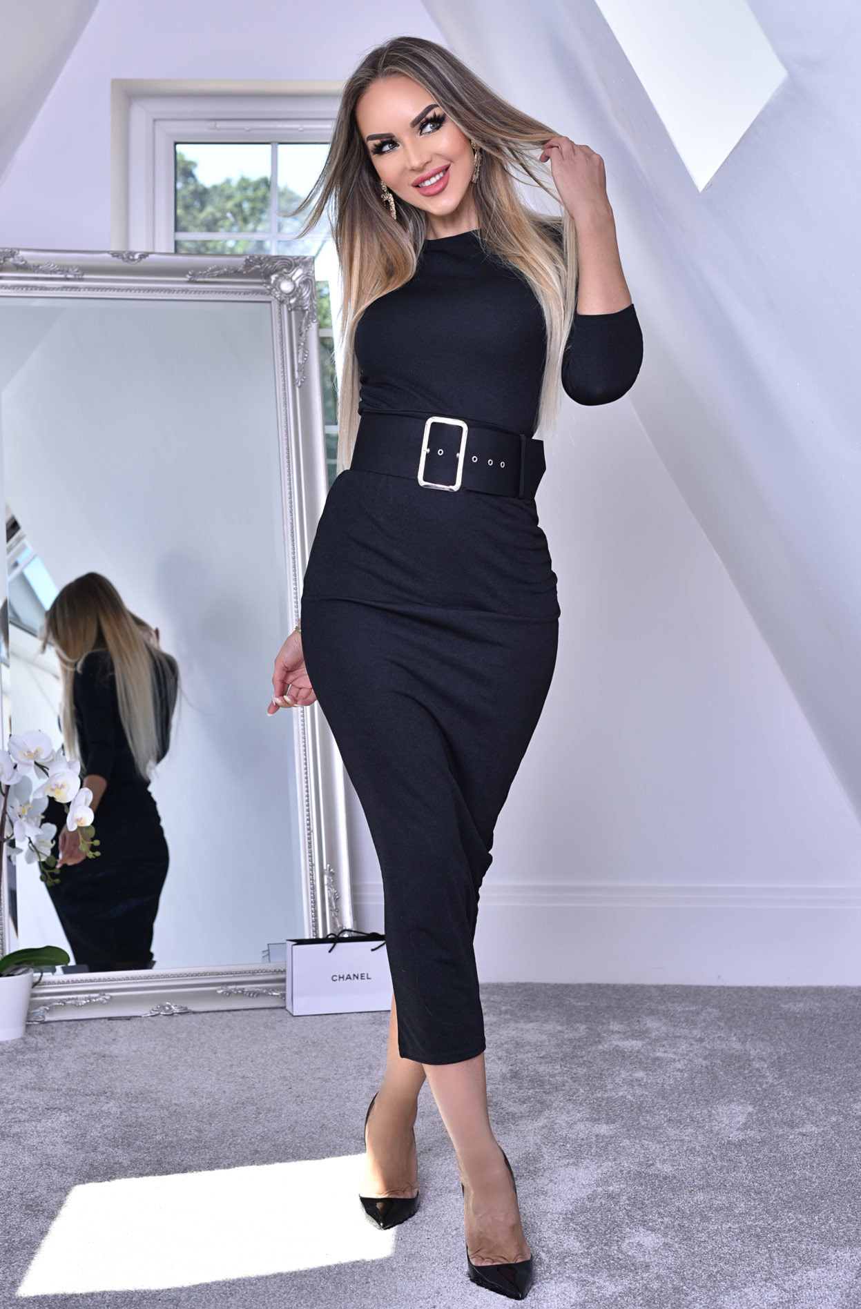 Eliana Midaxi Schwarze Kleid  Frauen  Schwarz