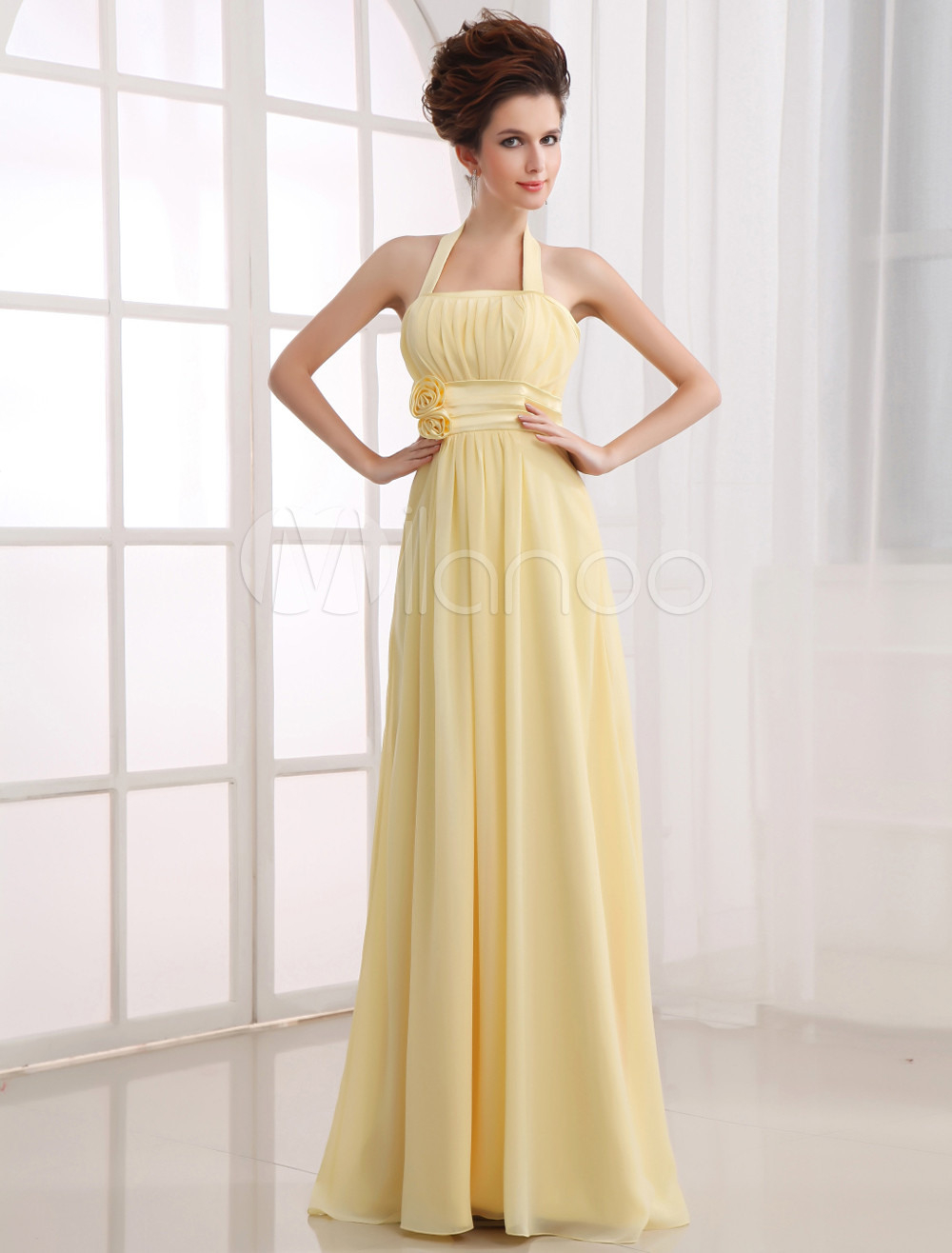 Empirekleid Für Brautjungfer Aus Chiffon Mit Viereckigem
