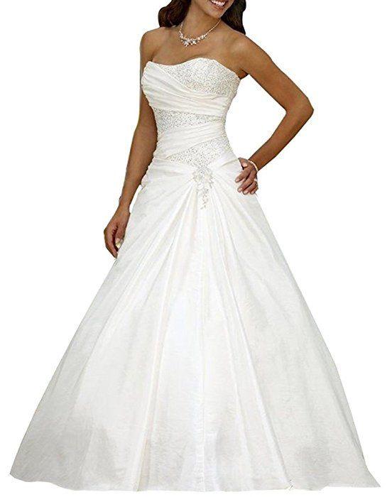 Erosebridal Neu Elfenbein Satin Brautkleid Hochzeitskleid