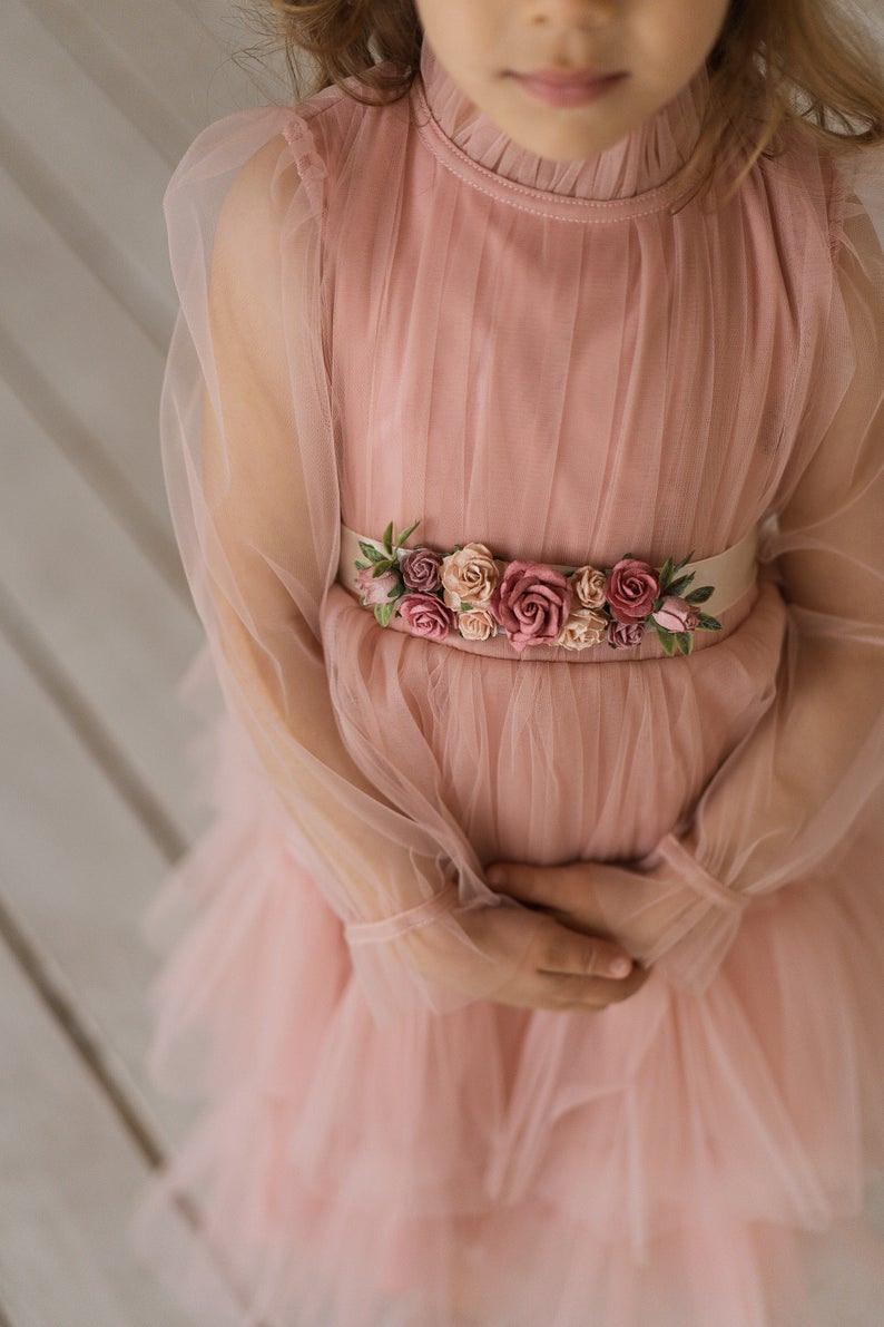 Erröten Blumenmädchen Kleid Tüll Geburtstag Mädchen Kleid