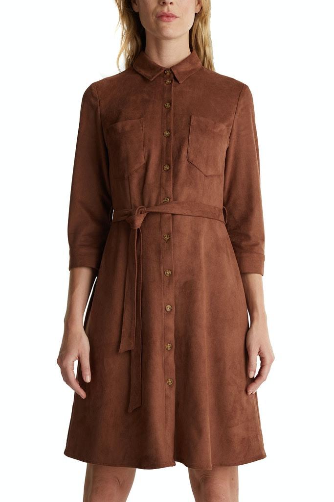 Esprit Damen Kleid Hemdblusenkleid In Velourslederoptik