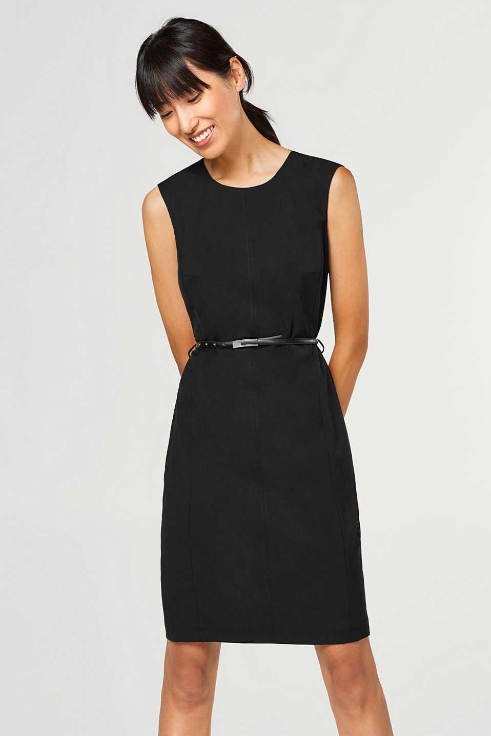 Esprit  Tailliertes Stretchkleid Mit Gürtel  Dresses