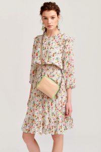 Essentiel Gesmoktes Kleid Vlannen In Natur Gemustert