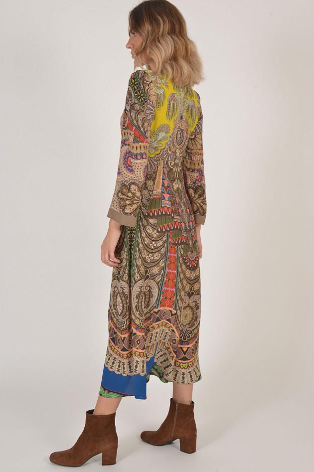 Etro Kleid Aus Seide In Blau Gemustert  Gruenerat