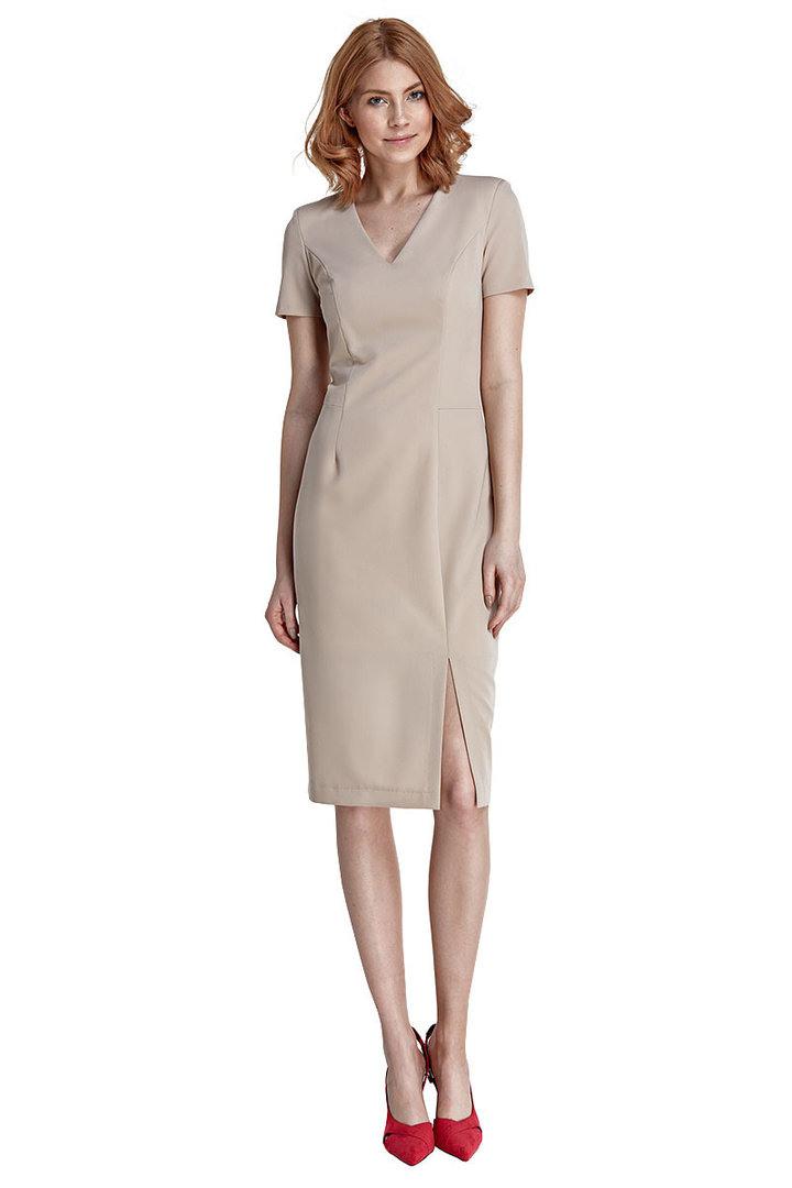 Etuikleid Damen Kleid Abendkleid Knielang Mit Schlitz