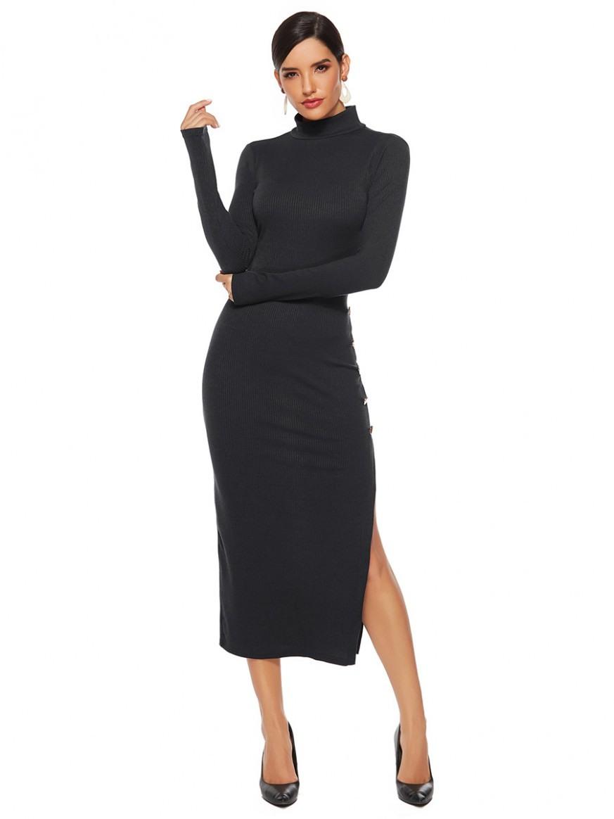 Etuikleid Langarm Pulloverkleid Schwarz Pencil Kleid