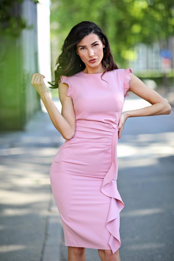 Etuikleid Mit Volants Rosa Victoriav Online Shop