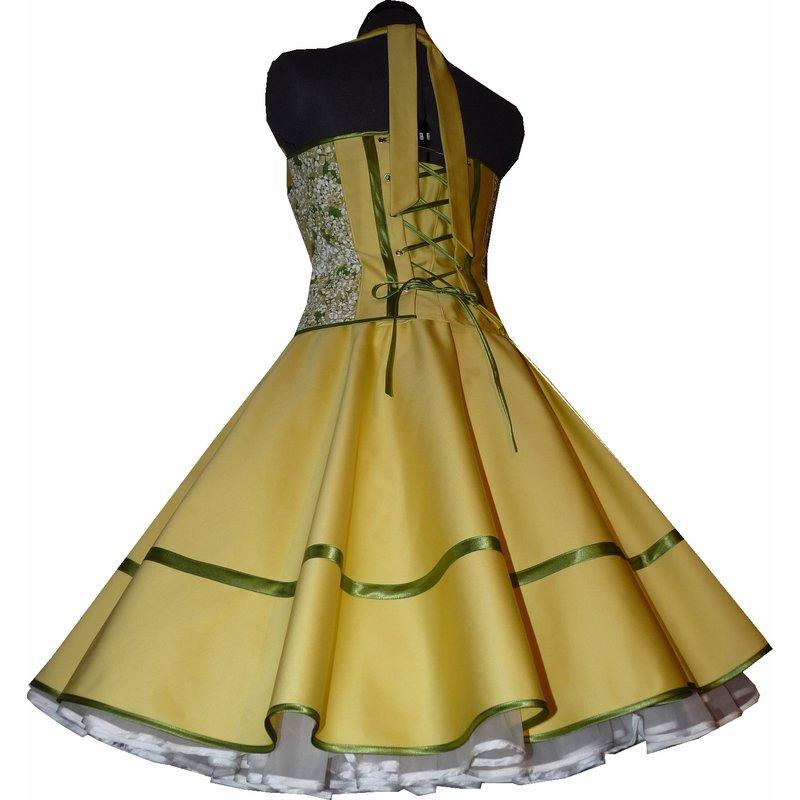 Exklusives Gelbes Korsagenkleid Fliederblüten  Tanzkleid