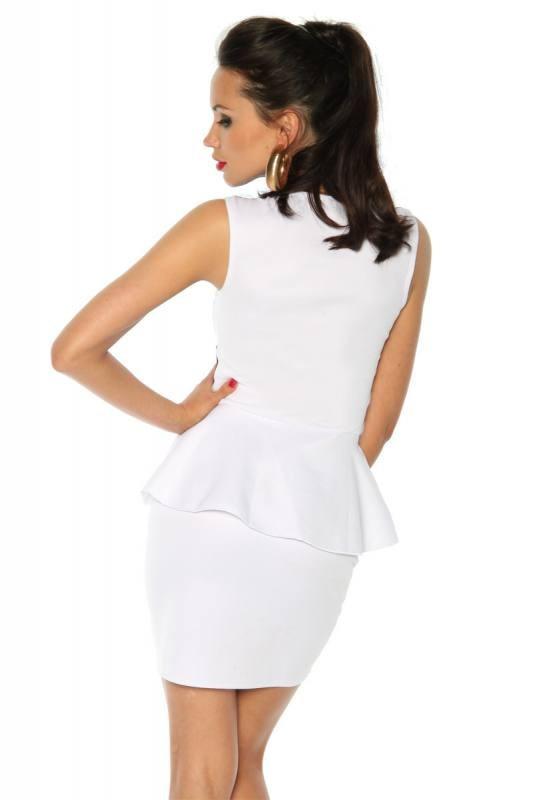 Extravaganter Schößchen Minikleid Schwarz Und Weiß