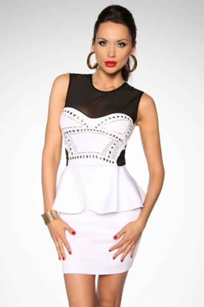 Extrem Elegantes Clubkleid In Weiß Mit Schößchen