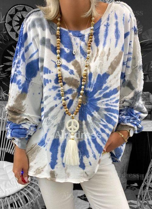 Farbquadrat Rundhals Lange Ärmel Lässige Kleidung Tshirt