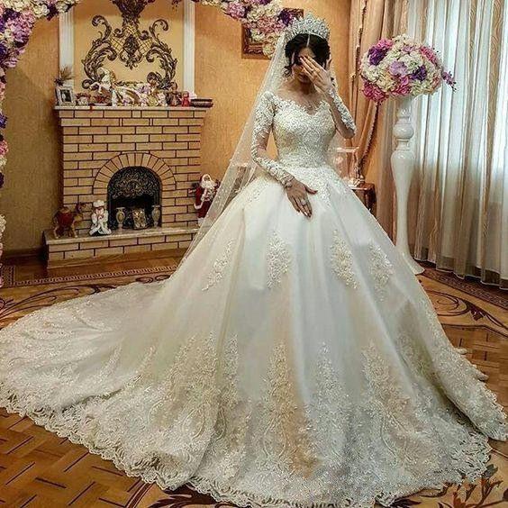 Fashion Hochzeitskleider Mit Ärmel Spitze  Brautkleid A