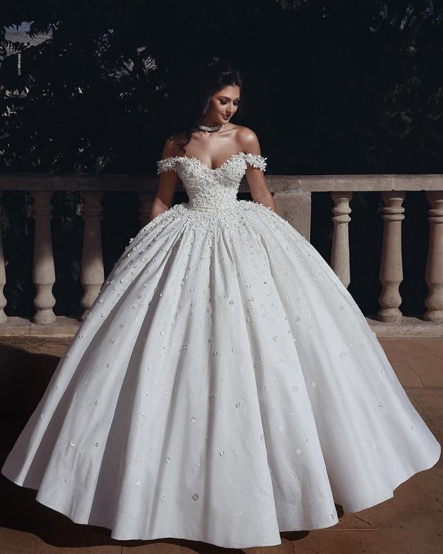 Fashion Hochzeitskleider Prinzessin Creme Bodenlang