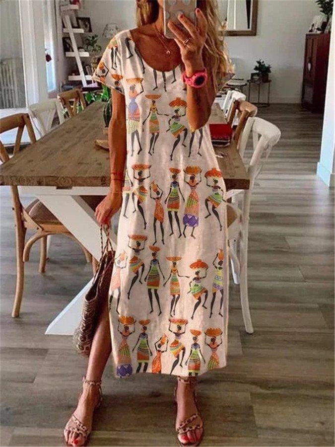 Fashion Style  Elencoco  Maxi Kleid Mit Schlitz Legere