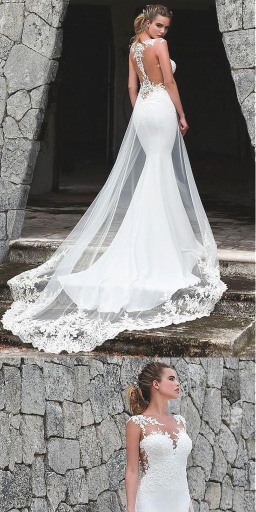 Fashion Weiß Tüll Nixe Hochzeitskleid Mit Spitzen