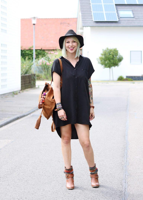 Fashionbloggerin Outfit Blusenkleid Zara Ethnoboots