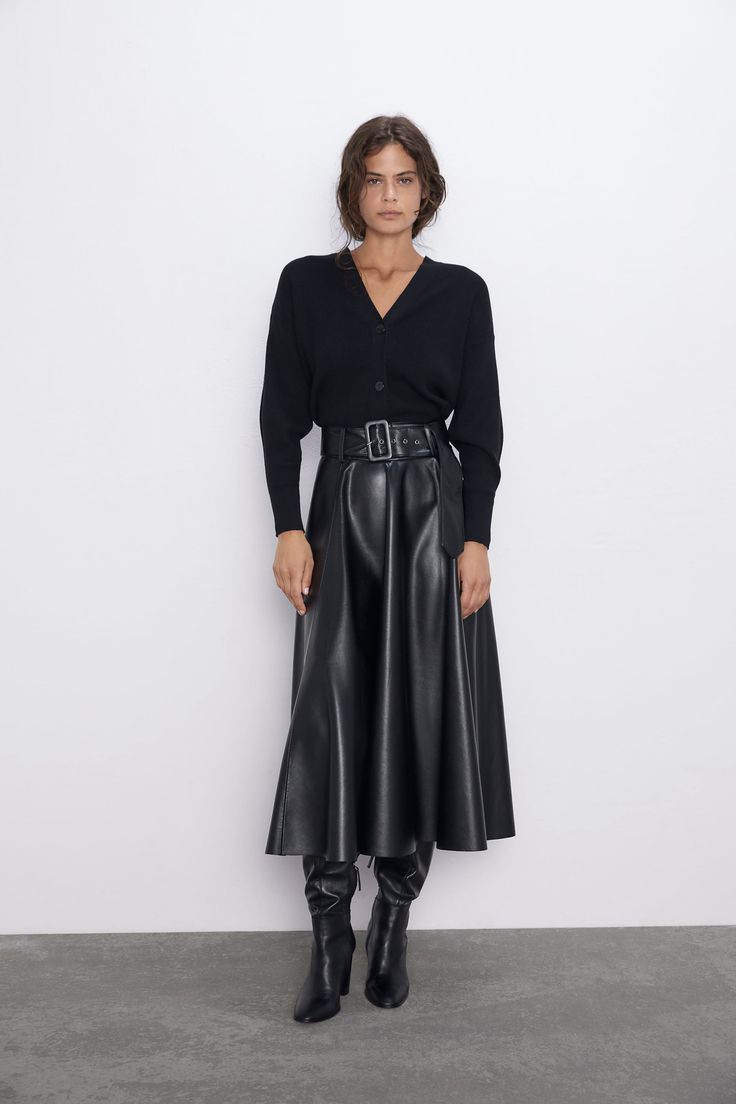 Faux Leather Skirt With Belt  New Inwoman  Zara United
