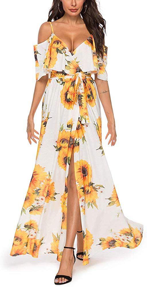 Feelingirl Damen Lange Kleid Kleider Sommerkleider