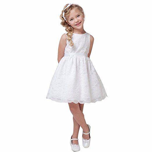Feeshow Mädchen Schönes Ärmelloses Kleid Mit Spitze Dekor