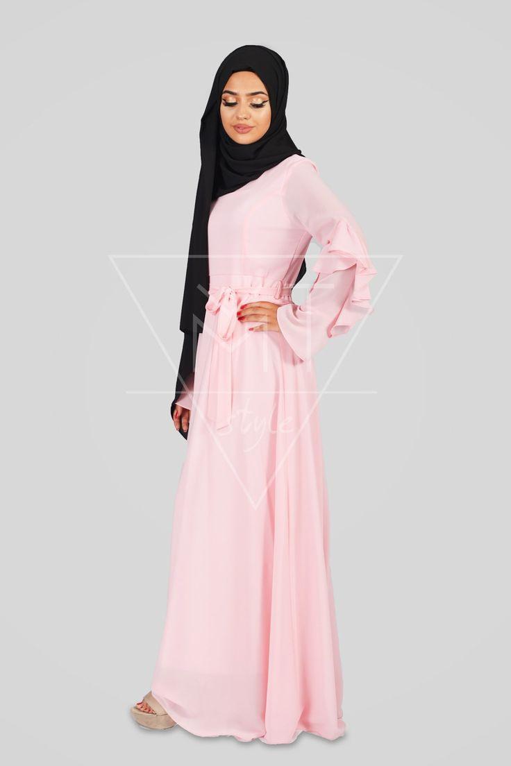 Festliches Hijab Kleid Mit Rüschen An Den Ärmeln Mt0184