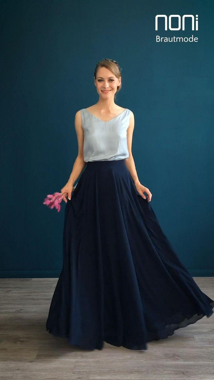 Festliches Kleid Für Hochzeitsgäste In Blau Puristisch