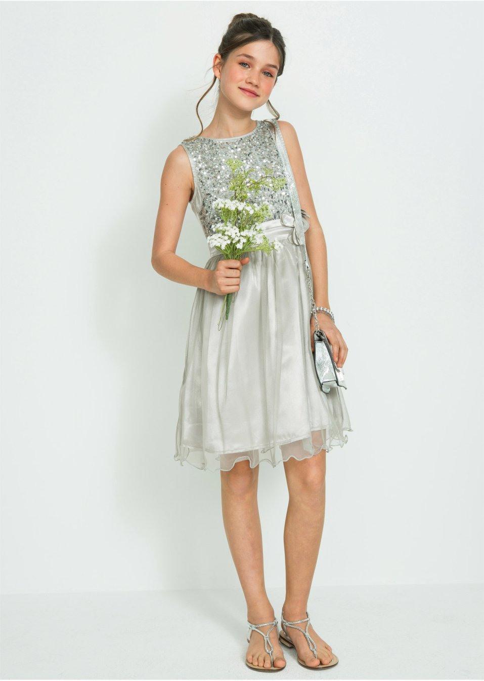 Festliches Mädchen Kleid Silberfarben  Bpc Bonprix