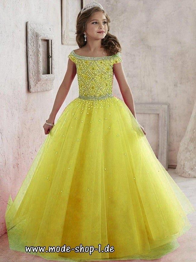 Festliches Mädchenkleid Maline In Gelb Mit Perlen