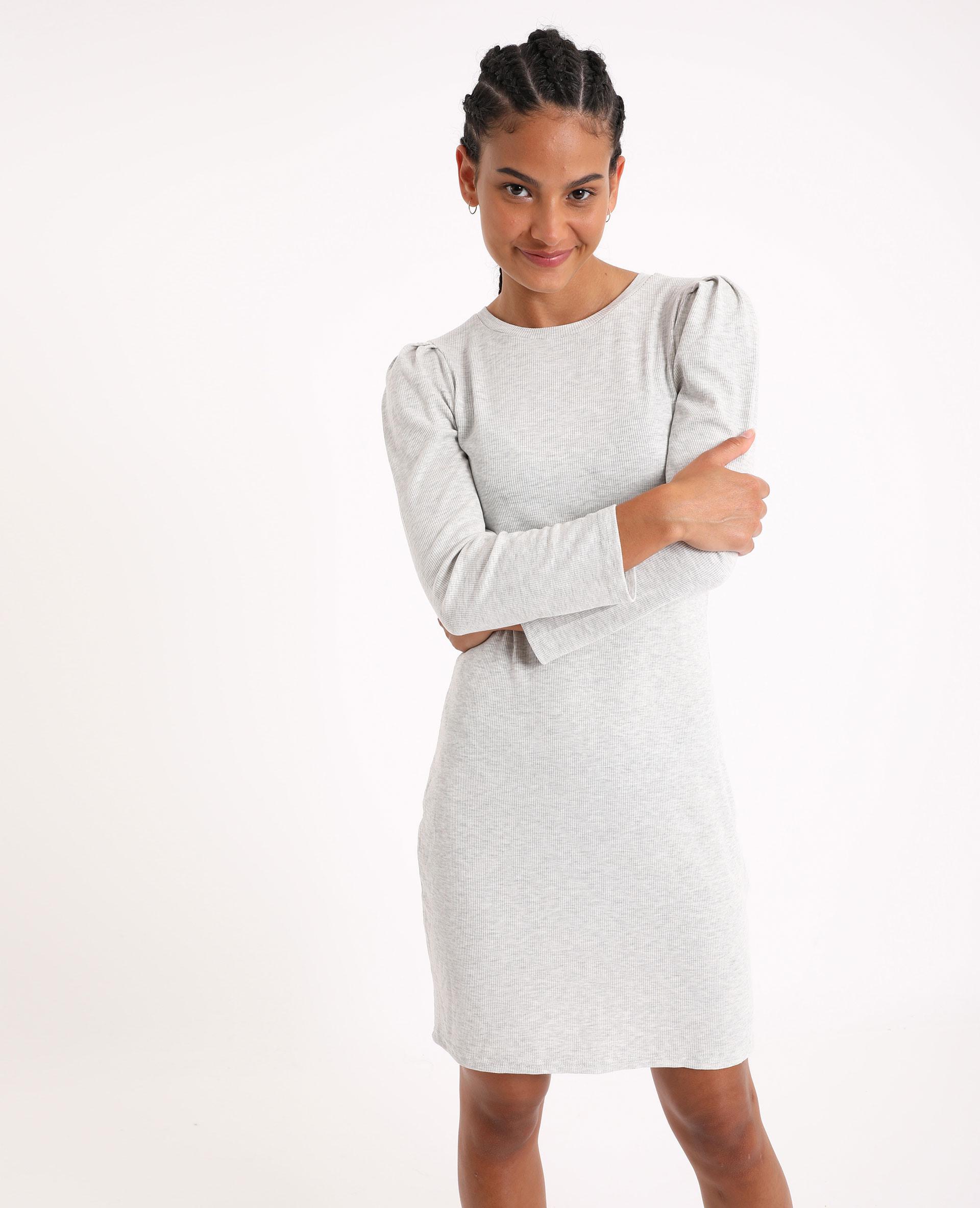 Figurbetontes Kleid Mit Puffärmeln Grau Meliert 60